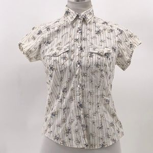 Taunt floral print pearl snap western shirt sz S